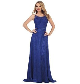 Royal Blue Jeweled Long Dress Size XS