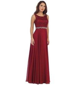 Wine Jeweled Long Dress Size S