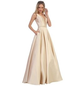 Champagne Jeweled Long Dress Size S