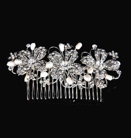 Sliver Flower Hair Comb With Rhinestones & Pearls