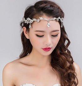 Silver Elegant Rhinestone Leaf Headpiece