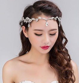 Rose Gold Elegant Rhinestone Leaf Headpiece
