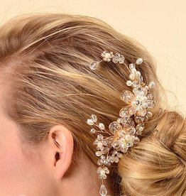 Gold Bridal Hair Comb with Pearls & Rhinestones