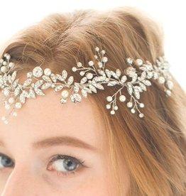 Silver Crystal Pearl Bridal Hair Vine Headpiece