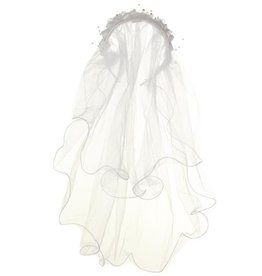 White Veil With Flower Headband