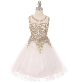 Girls White Jeweled Short Dress Size 16