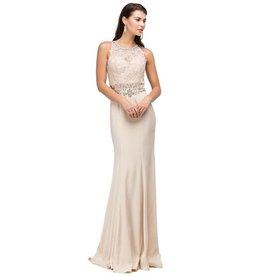 Champagne Lace Jeweled Long Dress Size M