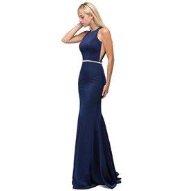 Navy Jeweled Long Dress Size M