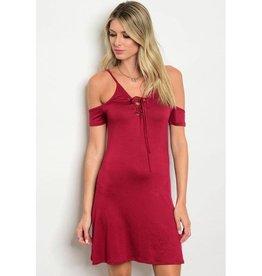 Wine Lace Up Off Shoulder Short Dress