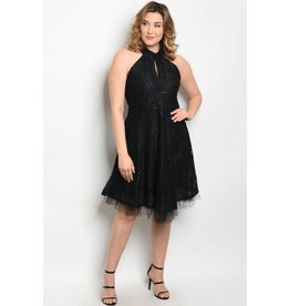 Black Lace Sequin Short Dress