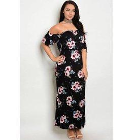 Black Floral Off Shoulder Long Dress
