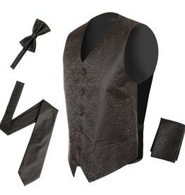 Mens Black Swirl Vest & Tie Set Size 2XL
