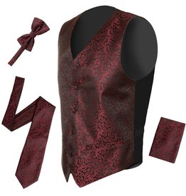 Mens Burgundy & Black Swirl Vest & Tie Set Size 3XL