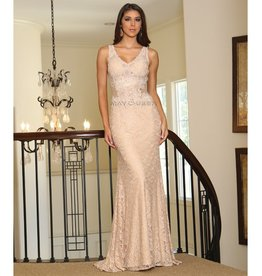 Champagne Lace Long Dress Size 10