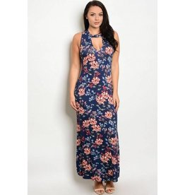 Navy Floral Cut Out Long Dress