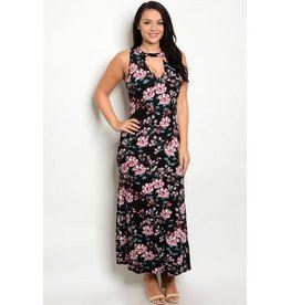 Black Floral Cut Out Long Dress