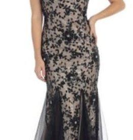 Black & Nude Lace Long Dress Size 6