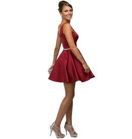 Burgundy Jeweled Short Dress Size S