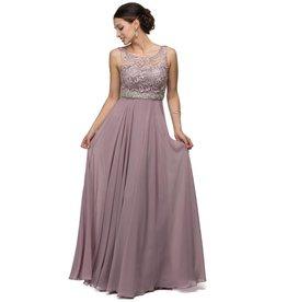 Mocha Jeweled Long Dress Size M
