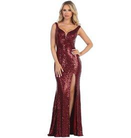 Burgundy Sequin Long Dress Size XL