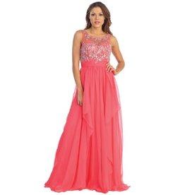 Coral Jeweled Long Dress Size XS