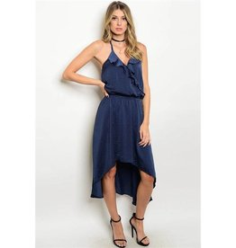 Navy Ruffled High Low Dress