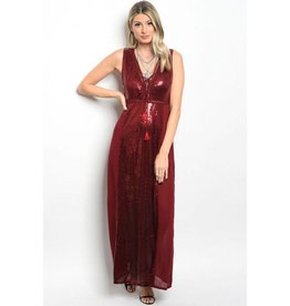 Wine Sequin Long Dress