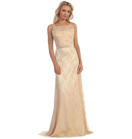 Champagne Jeweled Long Dress Size S