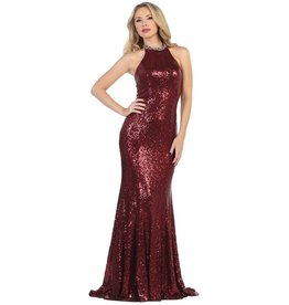 Burgundy Sequin Long Dress Size XS