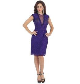 Purple Lace Short Dress Size 8