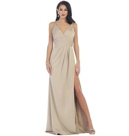 Taupe Draped Long Dress Size 6