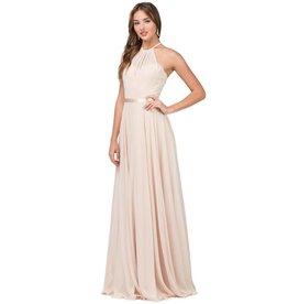 Champagne Chiffon Long Dress Size M