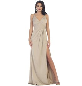 Taupe Draped Long Dress Size 12