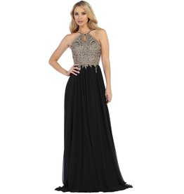 Black Gold Lace Long Dress Size M