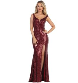 Burgundy Sequin Long Dress Size 2XL