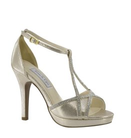 "Harlow Champagne Shimmer 3.75"" Heel Size 9.5"