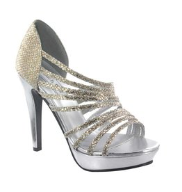"Carey Gold/Silver Glitter 4"" Heel Size 5.5"