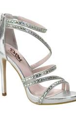 "Diva Silver Shimmer 4"" Heel Size 8"