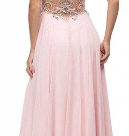 Blush Jeweled Top Long Dress Size XL