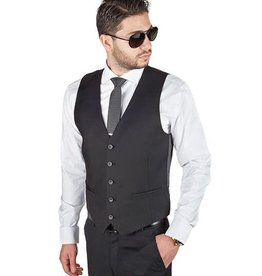 AZ Mens Black 5 Button Slim Fit Vest Size 42