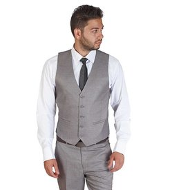 AZ Mens Silver 5 Button Slim Fit Vest Size 40