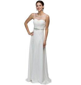 Off White Jeweled Long Dress Size L