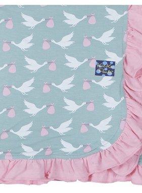 Kickee Pants Print Ruffle Stroller Blanket Jade Stork