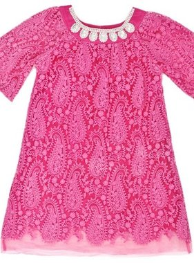 Cupcakes & Pastries Tulle Dress w Pearl Necklace, Fushia CP411D