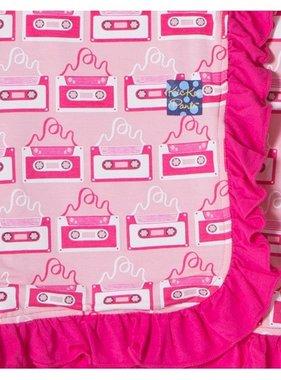 Kickee Pants Print Ruffle Stroller Blanket Lotus Cassette Tape