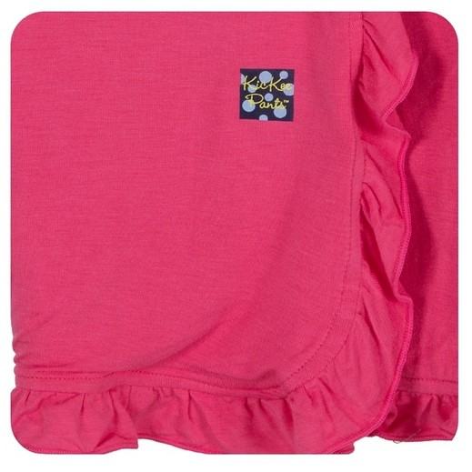 Kickee Pants Solid Ruffle Stroller Blanket Winter Rose