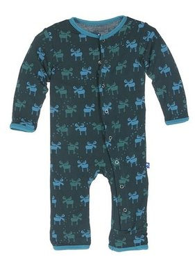 Kickee Pants Print Fitted Coverall Pine Moose