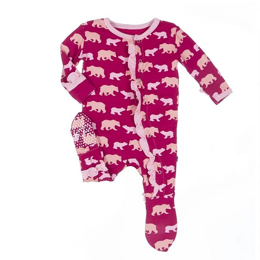 Kickee Pants Print Ruffle Footie Rhod. Brown Bear