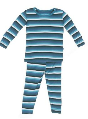 Kickee Pants L/S Pajama-Boy Forest Stripe