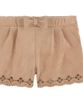 Mayoral 2200 048 Caramel Cut-out suede shorts